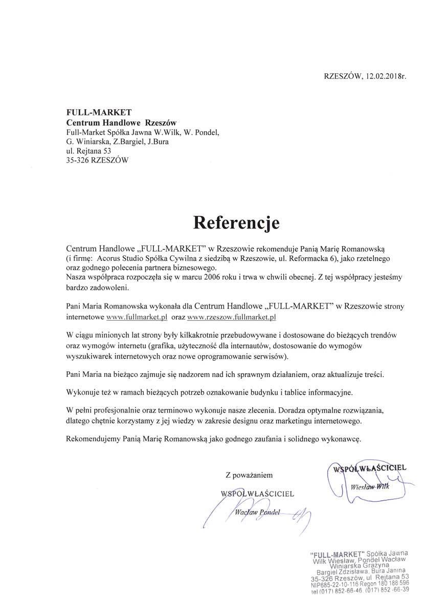 Referencje dla Marii Romanowskiej od Centrum Full Market Rzeszów