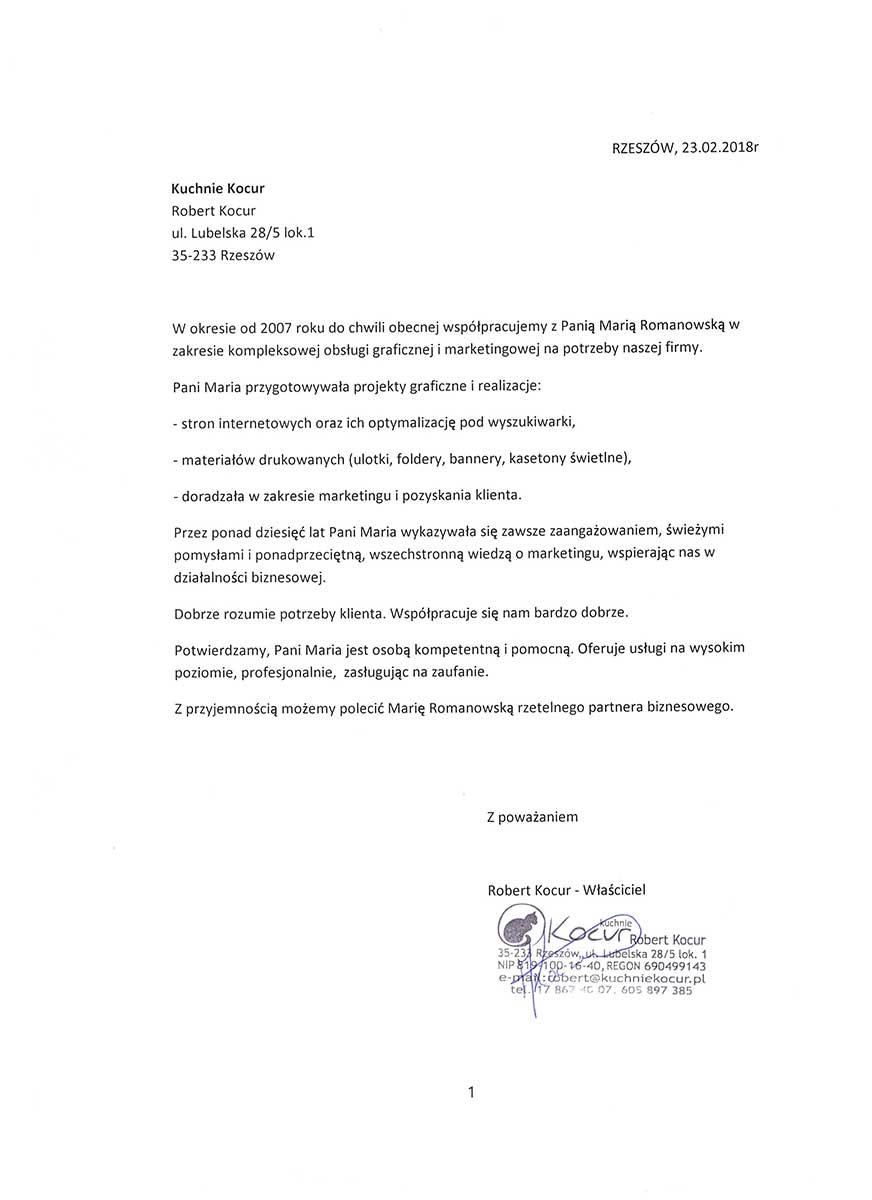 Referencje dla Marii Romanowskiej od Kuchnie Kocur