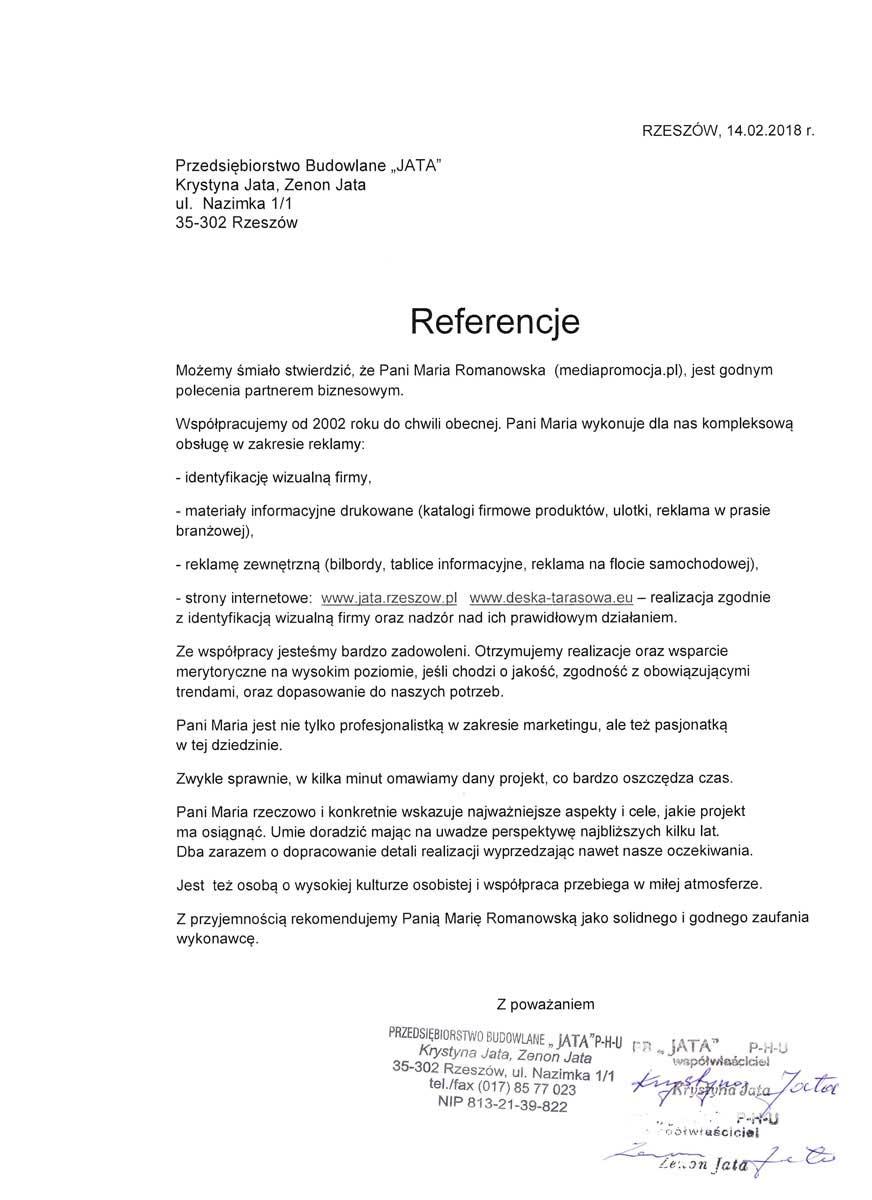 Referencje dla Marii Romanowskiej Jata